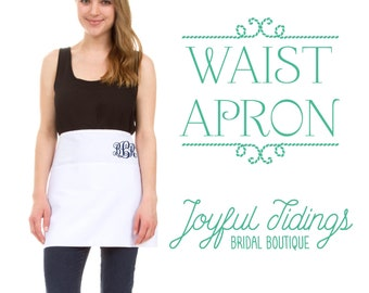 SALE Personalized Waist Apron, Utility Apron, Craft Apron, Embroidered Apron for Cooking, Embroidered Set of Bridesmaid Gift, Wedding Gift