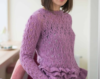 Lace knit sweater for women Womens clothing Long sleeve sweater Hand knitted sweaters Bohemian clothing  Romantic sweater for her Purple