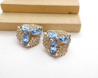Vintage Signed Bogoff Ice Blue Clear Rhinestone Flower Clip On Earrings L17