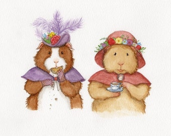 Guinea Pigs at Tea Victorian Guinea Pig Art Print