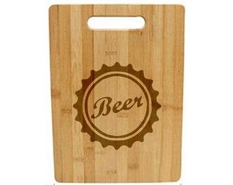 Laser Engraved Cutting Board - 005 - Beer Cap