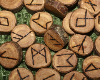 25 Elder Futhark BLACKTHORN WOOD Runes - Pagan, Norse, Witchcraft, Divination, Handmade