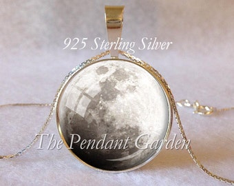 OVER THE MOON Sterling Moon Pendant Sterling Silver Full Moon Necklace Astronomy Jewelry 925 Sterling Planet Jewelry Moon Gift Astrology