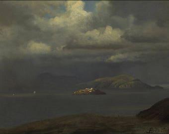 Poster, Many Sizes Available; Albert Bierstadt - Alcatraz, San Francisco Bay (1875)