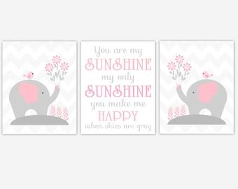 Baby Girl Nursery Art Pink Elephant You Are My Sunshine Birds Baby Nursery Elephant Decor Baby Girl Nursery Decor Flower Wall Art