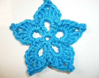 crocheted blue flower, sewing or craft, applique flower crochet applique, applique