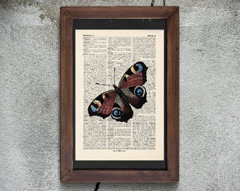 Pressure - BUTTERFLY - antique book page