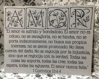 """8 1/2"""" x 11"""" Spanish Print ~ El Amor es sufrido y bondadosa -  1 Corinthians 13:4-8 Scripture ~ Wedding / Marriage / Engagement"""