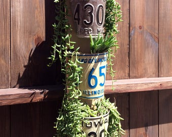 Vertical Planter from old License Plates, vintage American license plates, vertical gardening, repurposed car parts, upcycled planters