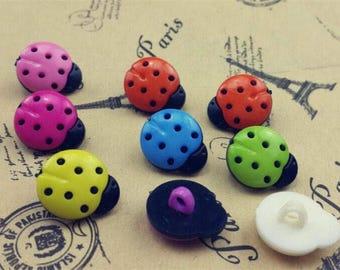 10 boutons acrylique forme de coccinelle 15x14mm