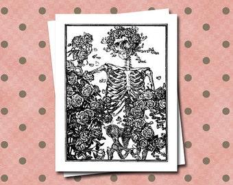 Skeleton Roses Grateful Dead Blank Greeting Note Cards Halloween Dancing Flowers Bones Happy Paper Stationery Thank You Birthdays Fun Humor