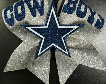 """All glitter Dallas Cowboys cheer bow with 3"""" ribbon with 3D embellishment."""