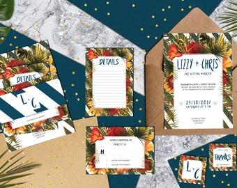 Tropical Wedding Set, editable & printable