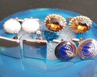 Vintage cufflinks lot square,oval, round, gold, silver tone