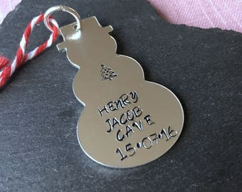 Baby's Christmas decoration, Hand stamped snowman ornament