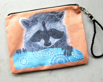 Raccoon Clutch Bag, Trash Panda, Large Wristlet, Purse