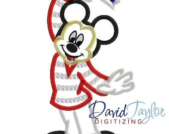 Mickey Bon Voyage Disney Cruise Line - 4x4, 5x7 and 6x10 in 9 formats - Applique - Instant Download - David Taylor Digitizing