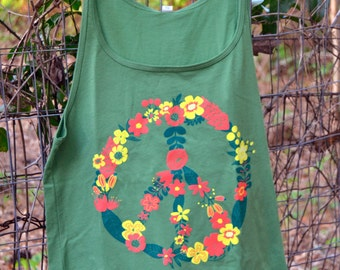 Flower Peace Sign Womens Tank