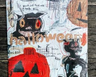 Postcard Size Print 'Halloween Cat'