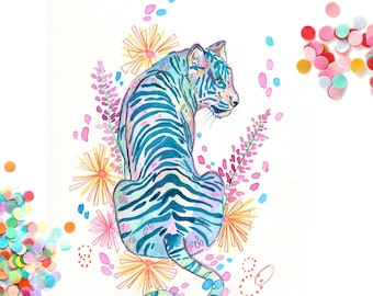"""Art print watercolor painting """"Tiger""""-Signed-"""