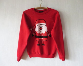 Hot Red Santa Claus Sweatshirt Ugly Christmas Sweater Funny Drinking Winter Jumper Stockings Christmas Eve Cosby Jumper Size Medium To Large