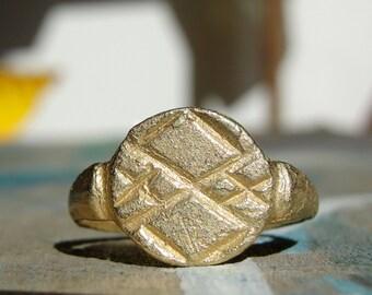 Pinkie Signet Ring , Gold Signet Ring , Roman Signet Ring , Ancient Signet Ring , Pinkie Ring