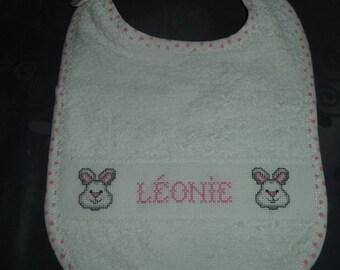 customizable name LEONIE cross-stitched Terry bib