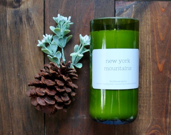 Wine bottle candle // New York Mountains // Mountain candle // New York candle // 14oz candle