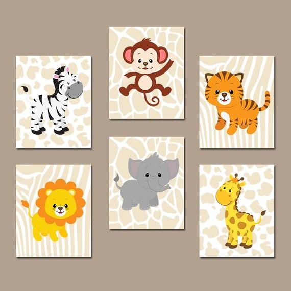 Baby Boy Safari Nursery Wall Art JUNGLE Animals Decor CANVAS