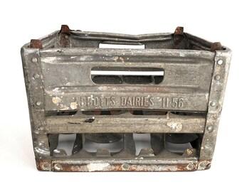 SALE - Milk Crate - Vintage Galvanized Metal Abbotts Milk Crate - Bin - Farmhouse - Industrial - Prop - Storage