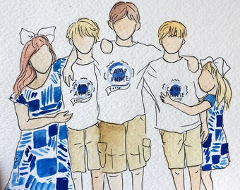 Families: Custom watercolor and ink portraits