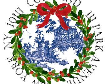 Christmas Chinoiserie, Blue Chinoiserie, Blue Podola Christmas, Preppy Christmas In Blue