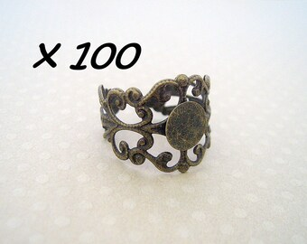 100 bronze adjustable rings with 8 mm - L259957 holder