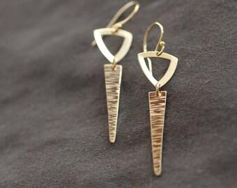 gold earrings, gold dagger, geometric earrings, sterling silver, triangle earrings, simple earrings, dangle earrings unique gift, E09