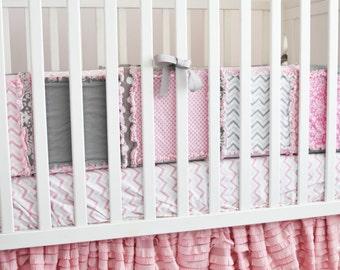 Pink Crib Skirt Girl Crib Bedding - Pansy Pink Dust Ruffle - Long Crib Skirt Girl - Pink Ruffle Crib Skirt - Pink Bed Skirt - Baby Bed Skirt