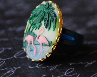 Pink Flamingo Cameo Ring, Cruise Jewelry, Flamingo Ring, Beach Jewelry, Tropical Jewelry, Rockabilly Style, Beach Birds, Flamingo Jewelry