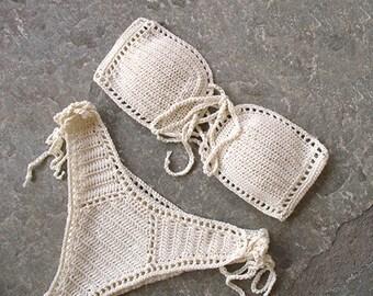 Strapless crochet bikini, Crochet bikini set, Bandeau bikini, Crochet Bandeau Swimsuit, Bandeau bikini set, High waisted bikini, Brazilian