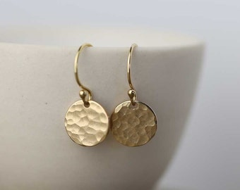 Tiny Gold Earrings Dangle Drop Earrings, Minimalist Earrings, Hammered Gold Filled Earrings Jewelry, Handmade Jewelry by Burnish