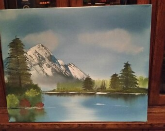 Beautiful mountain lake original oil painting.