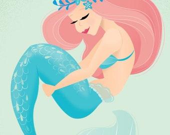 Coral Mermaid Print