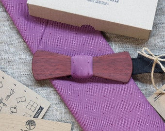 FREE SHIPPING! Slim Wooden bowtie, jarrah wood + pocket square  Personal engraving FREE. Men Accessories. 100% hand made wood bow tie