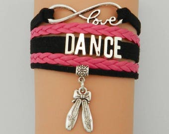 Dance Pink and Black Adjustable Wrap Bracelet