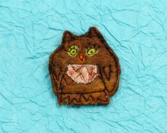 Original textile art handmade Merino wool felt brooch OWL  reddish-brown in colour  (BRBOWL)
