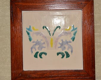 Trivet, Tile, Wood, Butterfly, Pink, Home Decor, Kitchen, Wall Hanging,