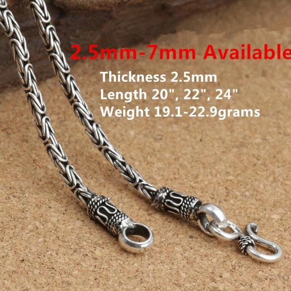 Byzantine chain, 3 mm square, silver 925