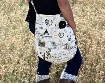 Diaper Bag Paris, Crossbody Handbag, French Paris Bag, Eiffel Tower, Cross body bag, Pleated Purse, Hobo Bag, Black and Natural France Print