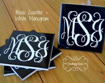 Set of 4 - Personalized Monogrammed Black Coasters with White Monogram