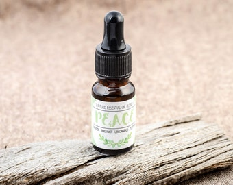 PEACE - therapeutic grade pure essential oil blend in glass dropper bottle (Calming & Stress Away)