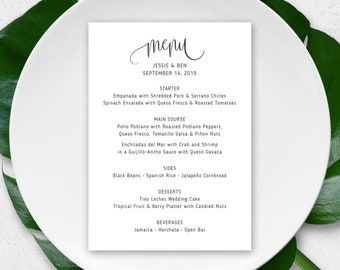 Wedding Menu, Rehearsal Dinner Menu, Wedding Shower Menu, Wedding Menu Cards, Mexican Wedding, Fiesta Wedding, Couples Shower, Menu Cards