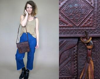 Moroccan brown leather handmade shoulder bag